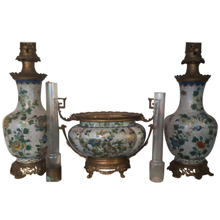 19th Century Chinese Ormolu-Mounted Cloisonne Garniture