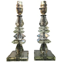 Pair of 1930s French Crystal Glass Lamps