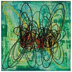 """Roberto Crippa """"Spirali"""" Italian Modern 1953 Oil Canvas """"Composizione in Verde"""""""