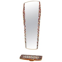 Brass Mirror Console with Mosaic, 1950s