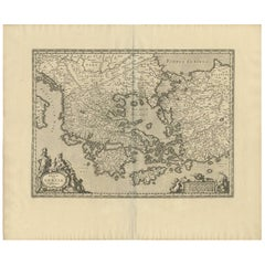 Antique Map of Greece by J. Jansson, circa 1653