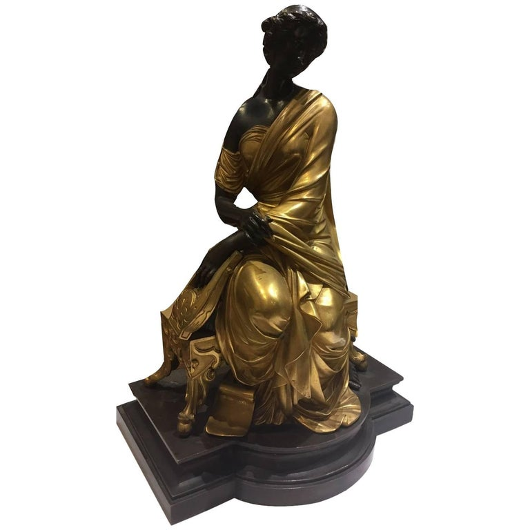 Elegant Bronze Figurine, a Female Sitting Down, Signed by François- Devaulx For Sale