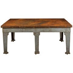 Industrial Cast Iron Surface Table with Six Legs