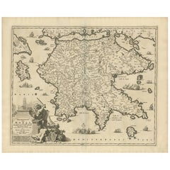 Antique Map of Southern Greece by N. Visscher, circa 1680