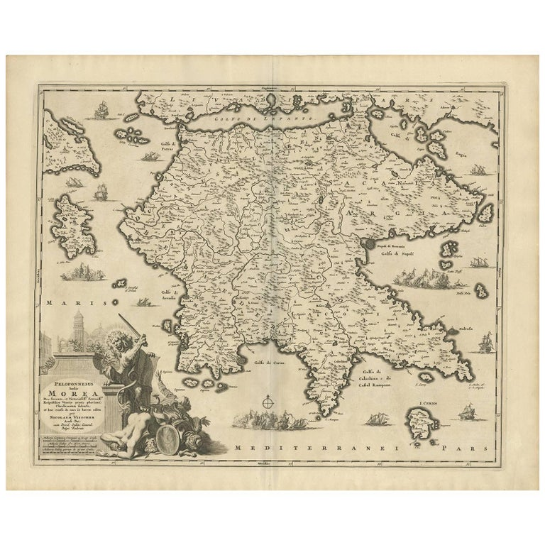 Antique Map of Southern Greece by N. Visscher, circa 1680 For Sale