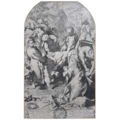 "17th Century Aegidius Sadeler II Print ""The Burial of Christ"""