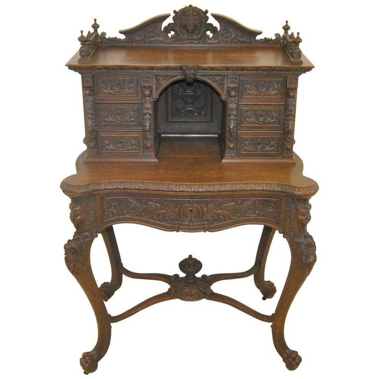 Carved Victorian Oak Writing Desk or Dressing or Console Table