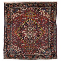 Antique Persian Lilihan Rug with Central Floral Bouquet Medallion