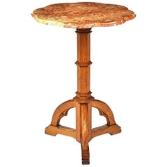 Gothic Revival Oak Wine or Side Table, Style of AWN Pugin with Ruby Marble Top