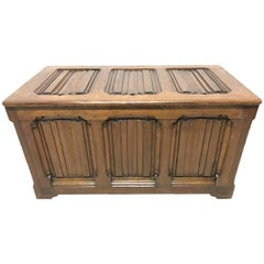 Large Gothic Revival Style Carved Oak Blanket Chest in the Style of A.W.N. Pugin