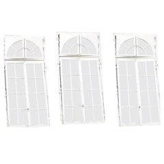 3 French Orangerie Castle Double Window Doors, 19th Century