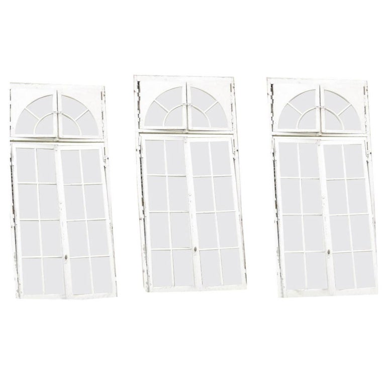 Set of 3 French Orangerie Castle Double Window Doors, 19th Century