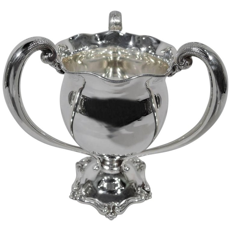 Antique American Sterling Silver Loving Cup with Ruffled Rim