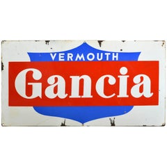 1960s Blue Red and White Enamel Metal Gancia Vermouth Italian Sign