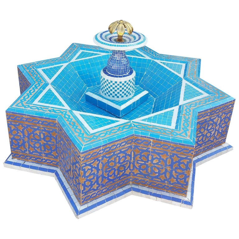 Round Turquoise Moroccan Mosaic Fountain, Marrakech