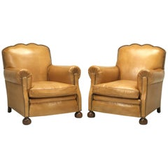French Leather Club Chairs, Completely Restored from the Bare Frame