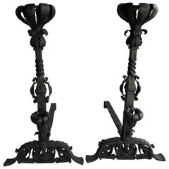 Pair of Very Special Hand-Forged Iron Andirons