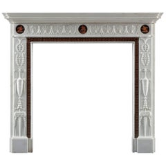 Antique Etruscan Neoclassical Fireplace after Robert Adam