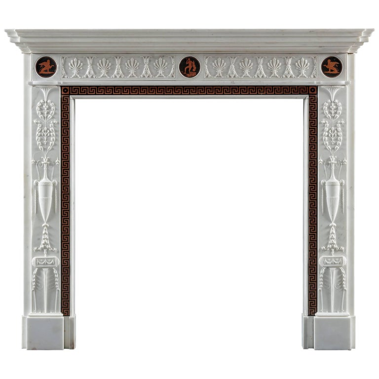 Antique Etruscan Neoclassical Fireplace after Robert Adam For Sale