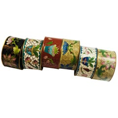 Set of Six Chinese Enamel Napkin Rings