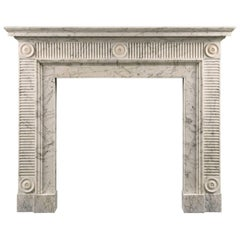 Late 18th Century Soane Style Fireplace in Carrara Marble