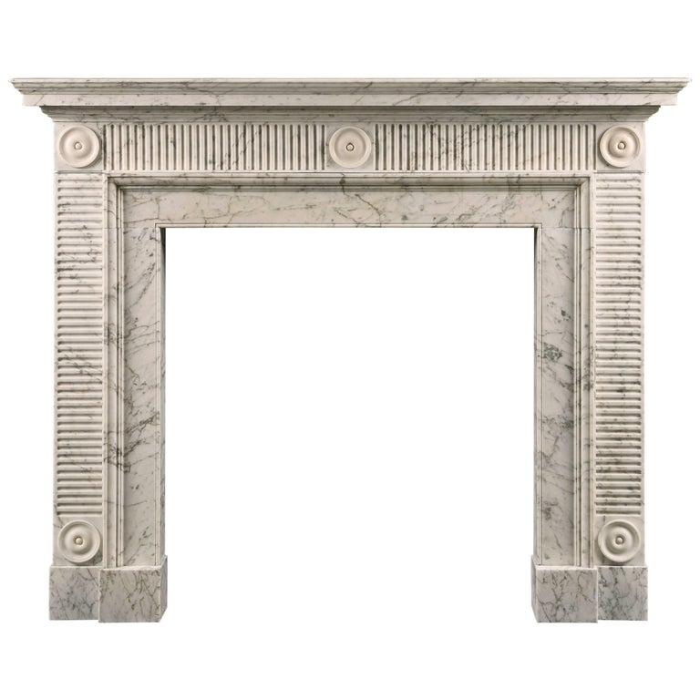 Elegant Late 18th Century Carrara Soane Style Fireplace For Sale