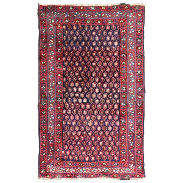 Antique Persian Kurd Rug with Tribal Style