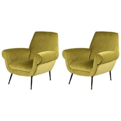 Pair of Italian Velvet Lounge Chairs by Gigi Radice