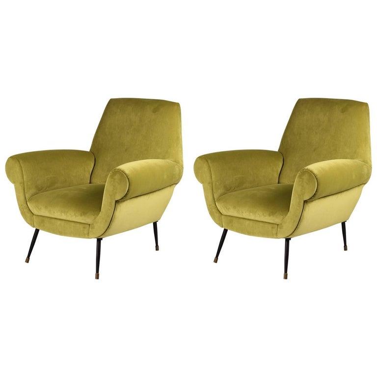 Pair of Italian Velvet Lounge Chairs by Gigi Radice