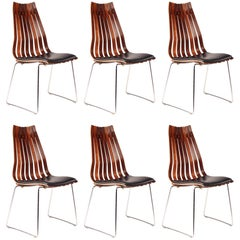 Scandinavian Modern Rosewood Dining Chairs by Hans Brattrud, set of Six.