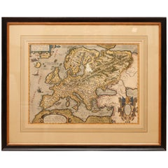 Antique Hand Colored Framed Map of Europe