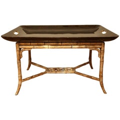 Faux Tortoise Lacquered Tray Table