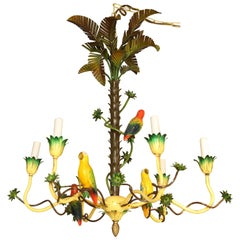 Italian Tole Palm Tree and Bird Chandelier
