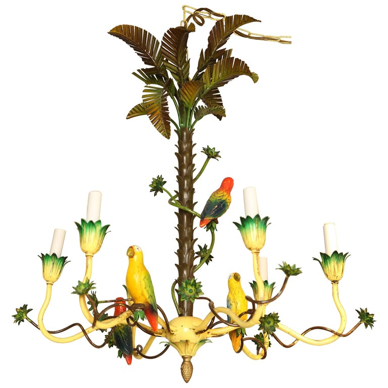 Italian tole palm tree and bird chandelier for sale at 1stdibs italian tole palm tree and bird chandelier for sale aloadofball Gallery