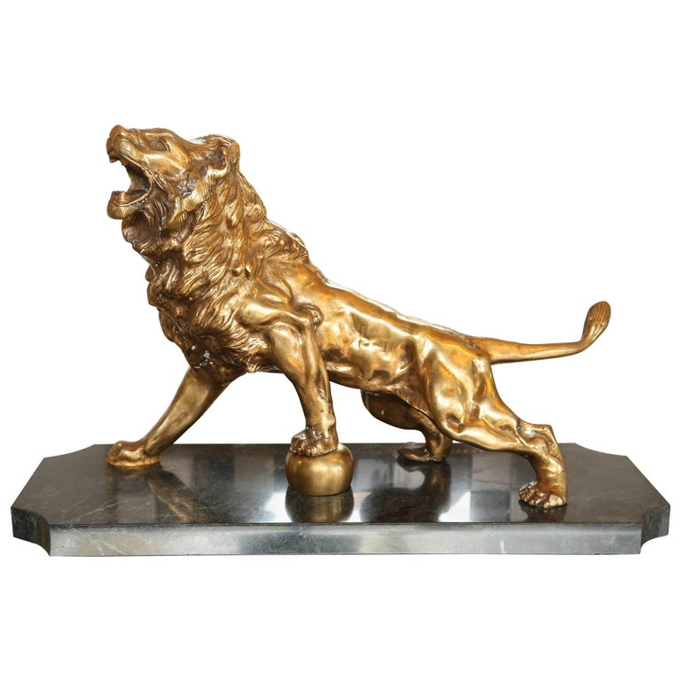 Bronze Lion on Marble Base For Sale