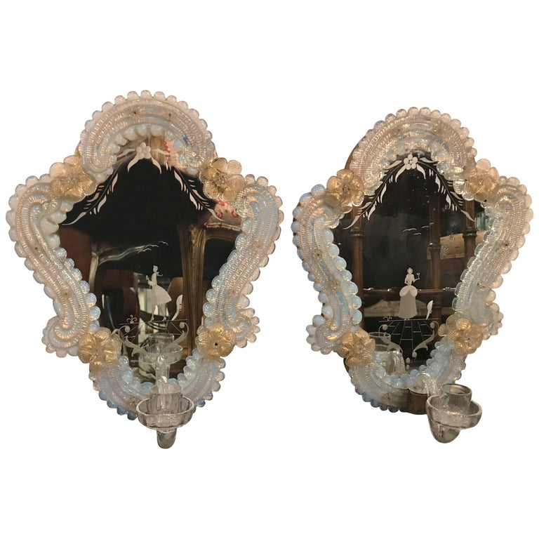 Pair of Venetian Glass and Etched Mirrored Candle Sconces