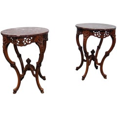 Pair of French Marble-Top End Tables
