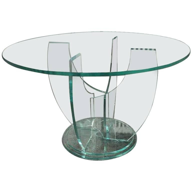Round Glass Top Table and Glass Base