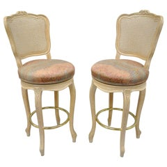 French Country Louis XV Style Vintage Cane Back Swivel Bar Stools Chair, a Pair