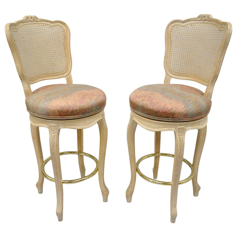 French Country Louis Xv Style Vintage Cane Back Swivel Bar Stools