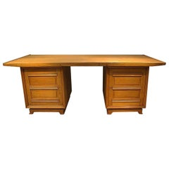 Large Art Deco Oak Desk in the Style of Dominique, circa 1930-1940