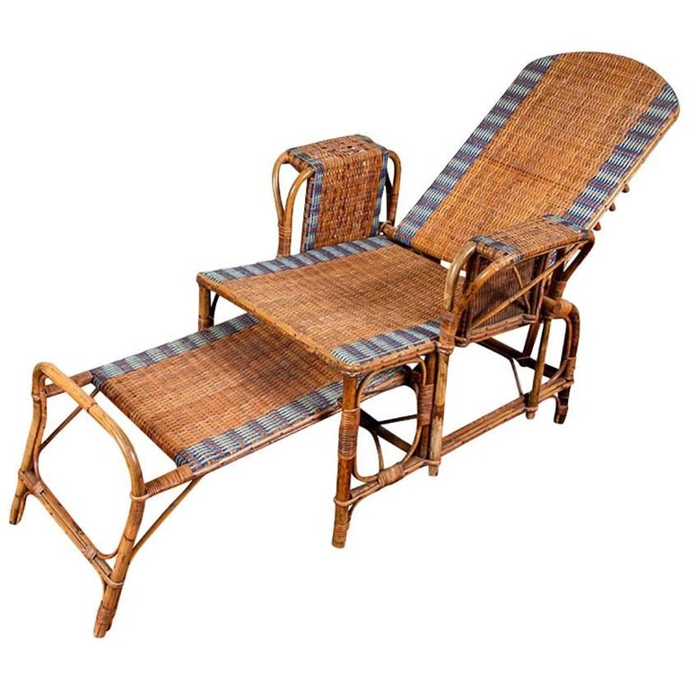 1920s Rattan and Wicker Lounge Chair with Ottoman For Sale
