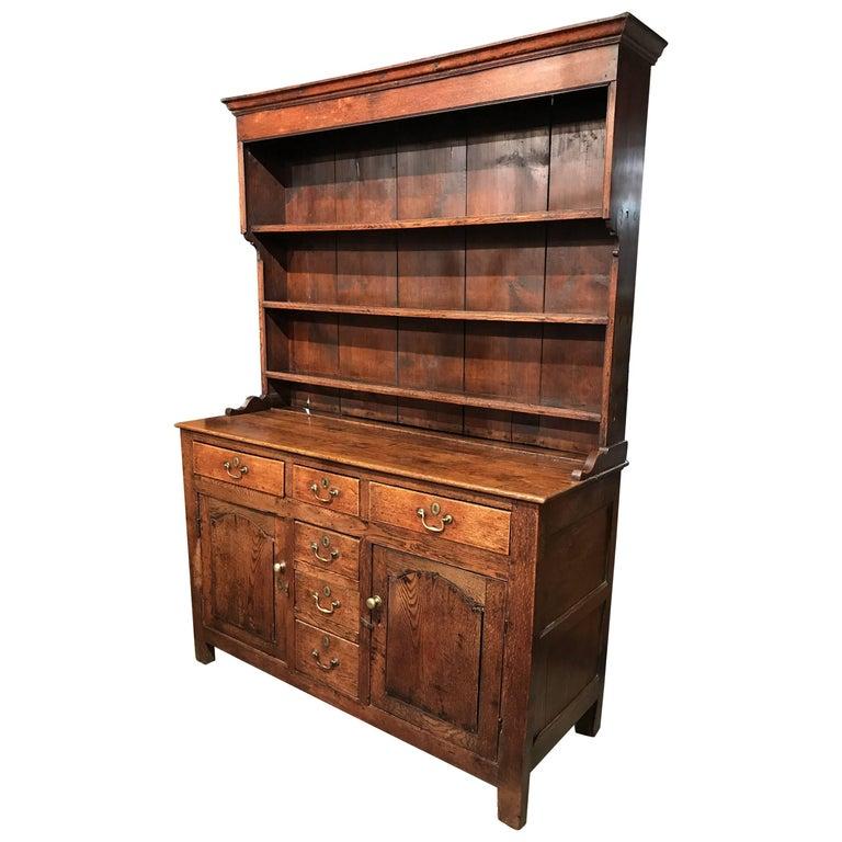 18th-19th Century George III Welsh Two-Part Dresser or Cupboard in Oak