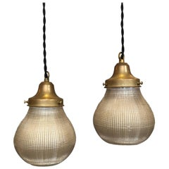 Pair of Industrial Open Prismatic Holophane Glass Pear Pendant Lights
