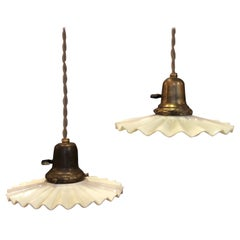 Pair of Industrial Ruffled Milk Glass Disc Pendant Lights
