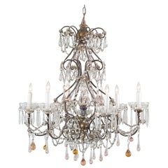 Antique French Chandelier with Glass Crystals