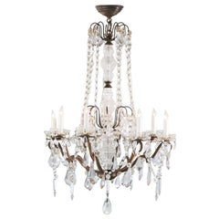 Antique French Glass Crystal Chandelier
