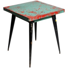 Mid-Century Modern Green Metal Outdoor Cafe Table by Tolix
