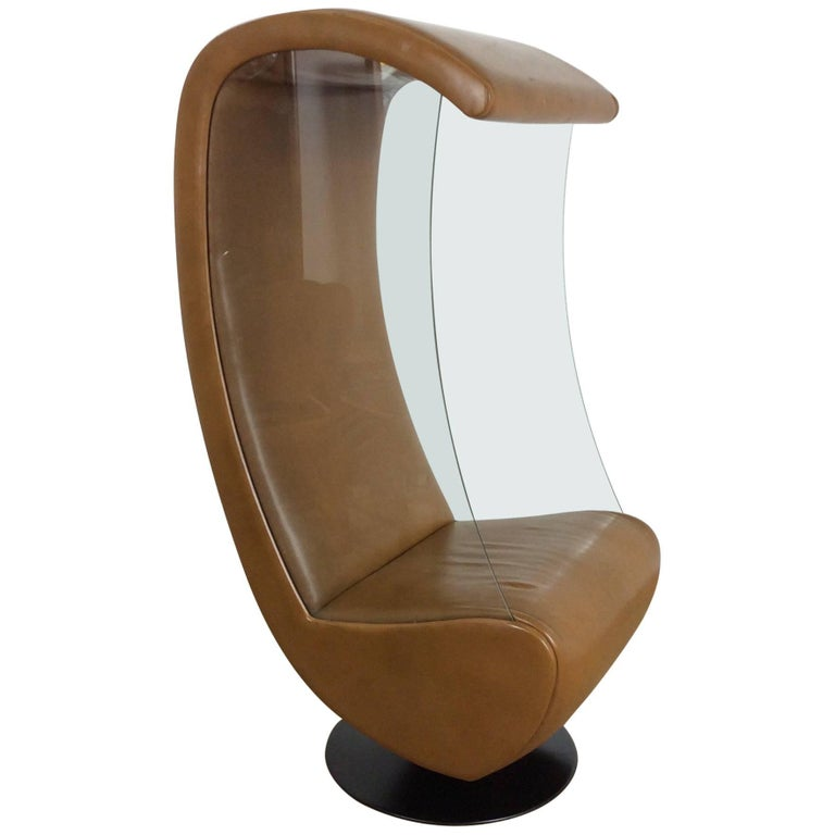 Midcentury Glass Sided Swivel Chair