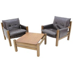 Midcentury Living Set Chairs and Table, Scandinavian, 1970s